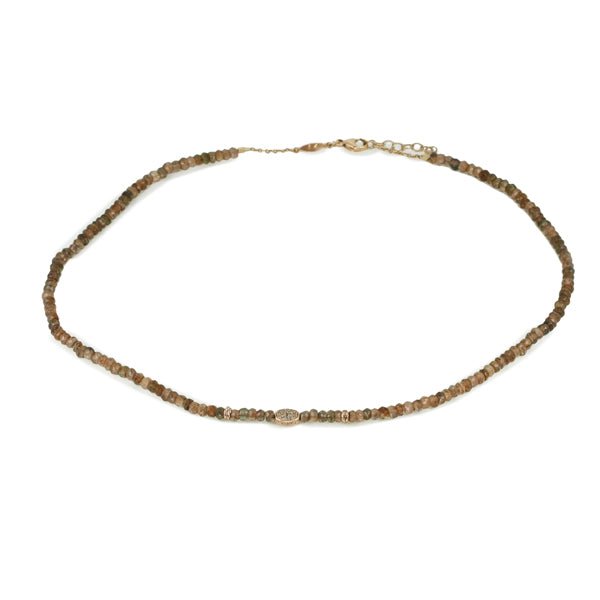 Jacquie Aiche Andalusite Beaded Necklace with Diamond Oval
