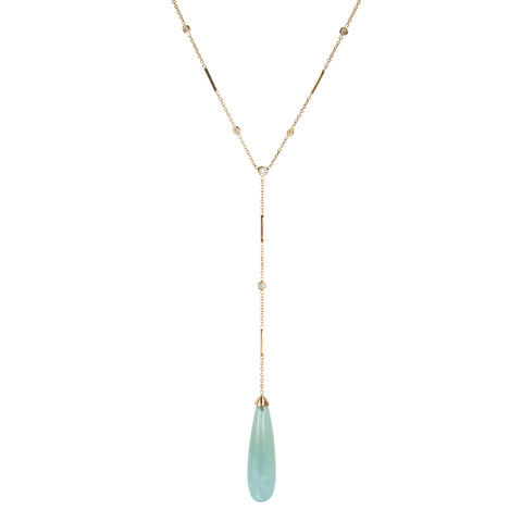 "Rose Gold Aquamarine ""Y"" Necklace"