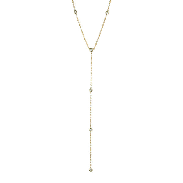 Gold and Diamond Lariat Necklace