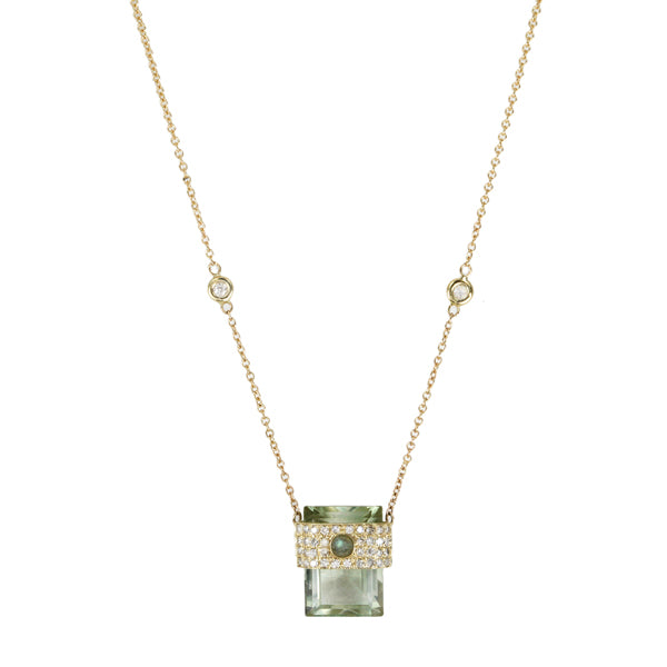 Gold Prasiolite Necklace with Diamonds