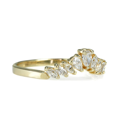 Gold and 6 Marquise and 3 Teardrop Diamond Ring