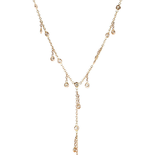 "Rose Gold and Diamond ""Shaker Y"" Necklace"