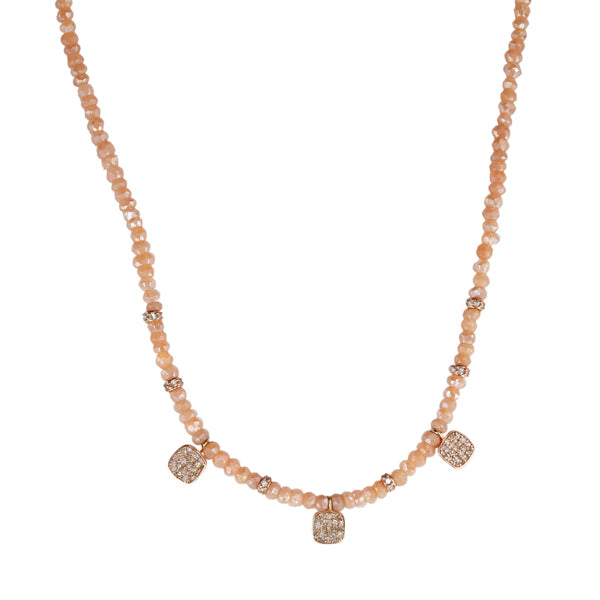 Jacquie Aiche Peach Moonstone Beaded Necklace with Diamond Squares
