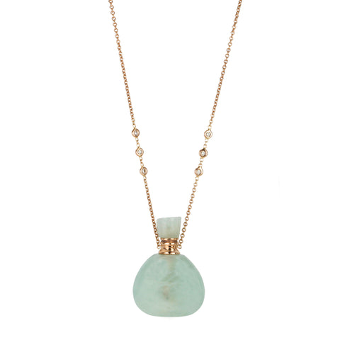 "Rose Gold Aquamarine ""Potion Bottle"" Pendant Necklace"