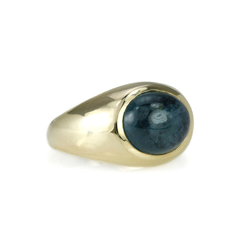 Gold Oval Cabochon Aquamarine Signet Ring