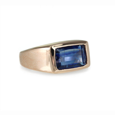 Rose Gold Rectangular Iolite Signet Ring