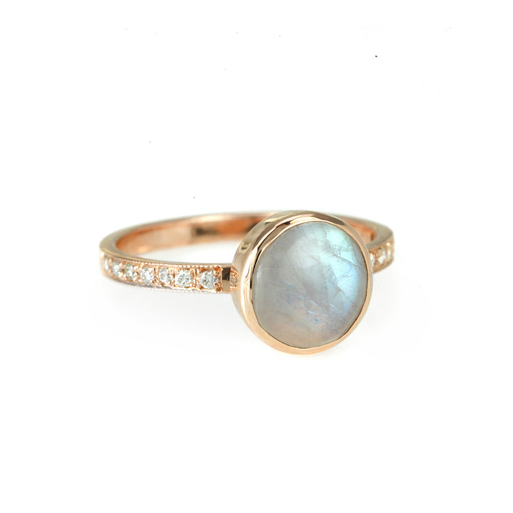 Rose Gold Round Moonstone Ring