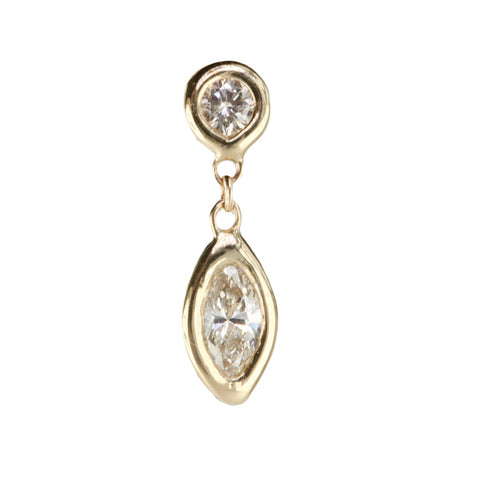 Gold and Marquise Diamond Drop Earring