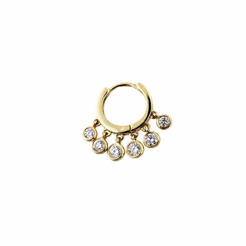 "Mini ""Shaker"" Hoop Earring with Diamond Fringe"