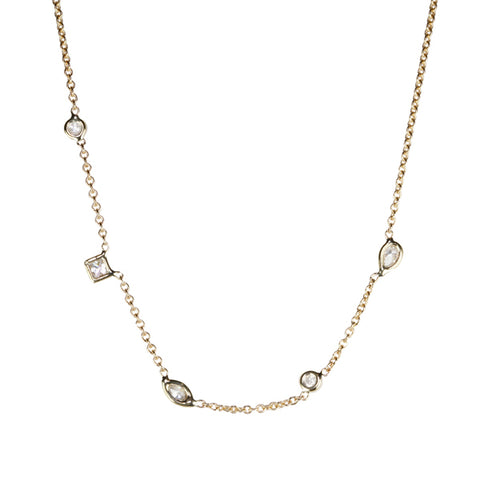 Jacquie Aiche Gold and Multi-Shape Diamond Necklace