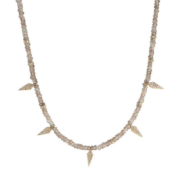 Andaluscite Beaded Necklace with Diamond Daggers