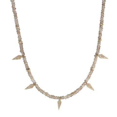 Jacquie Aiche Andaluscite Beaded Necklace with Diamond Daggers