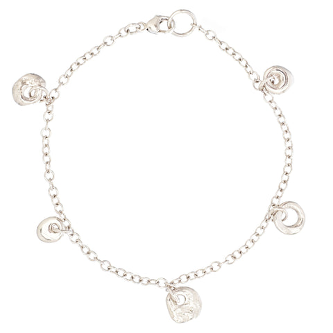 Johanna Brierley Silver Chain Bracelet with Five Lucky Stone Charms