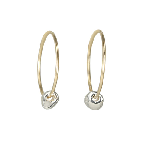 "Johanna Brierley Gold Sleeper Hoops with Sterling Silver ""Lucky Stone"""