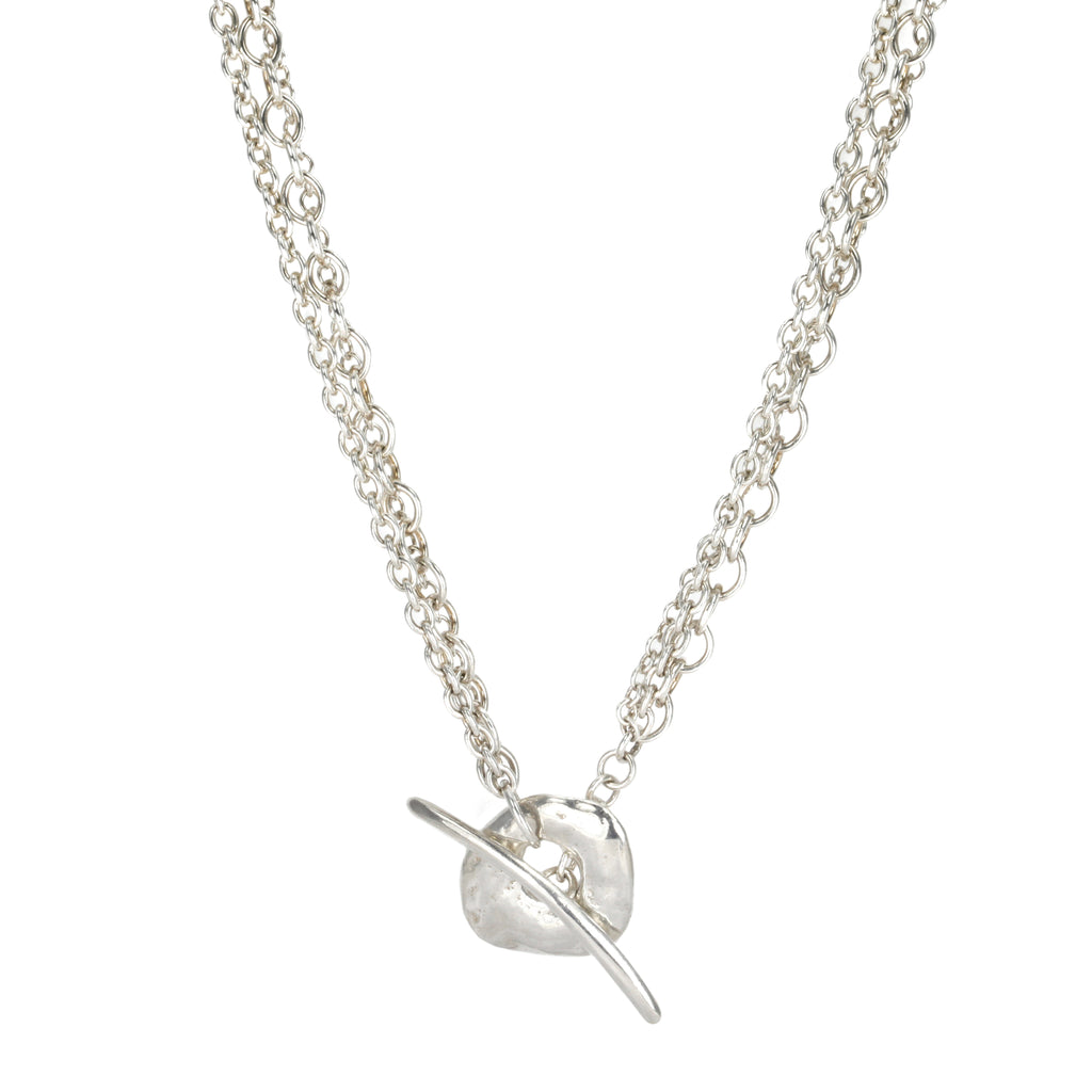 "Johanna Brierley Sterling Silver Triple Chain ""Safe"" Necklace"