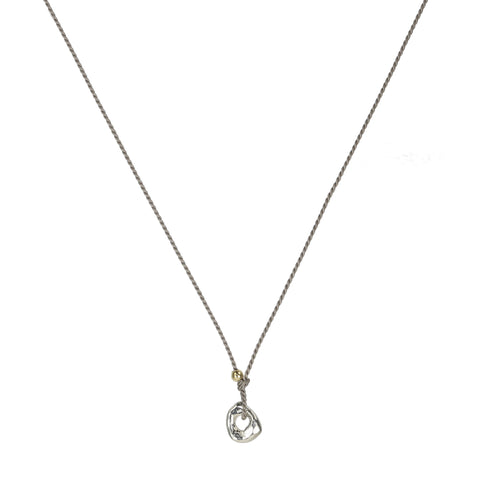 "Johanna Brierley Grey Silk Cord Necklace with Silver ""Lucky Stone"""