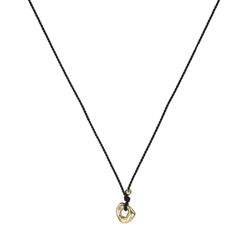 "Johanna Brierley Black Silk Cord Necklace with Gold ""Lucky Stone"""