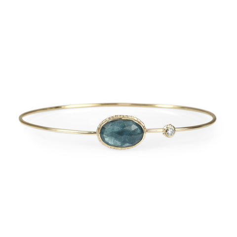 Moss Aquamarine and Diamond Hinged Bangle