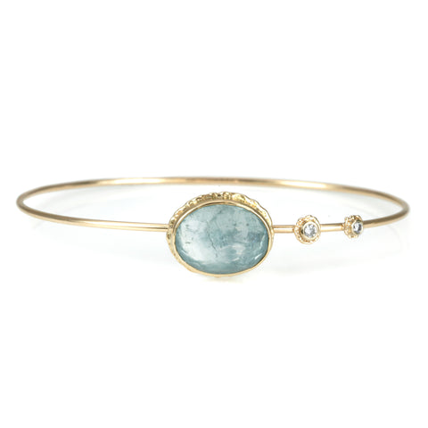 Gold Oval Inverted Aquamarine Bracelet