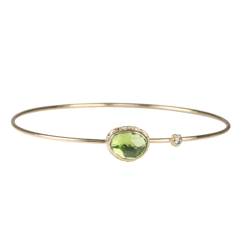 Gold Asymmetrical Peridot Hinged Bangle