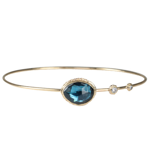 Jamie Joseph Gold Asymmetrical London Blue Topaz Hinged Bangle
