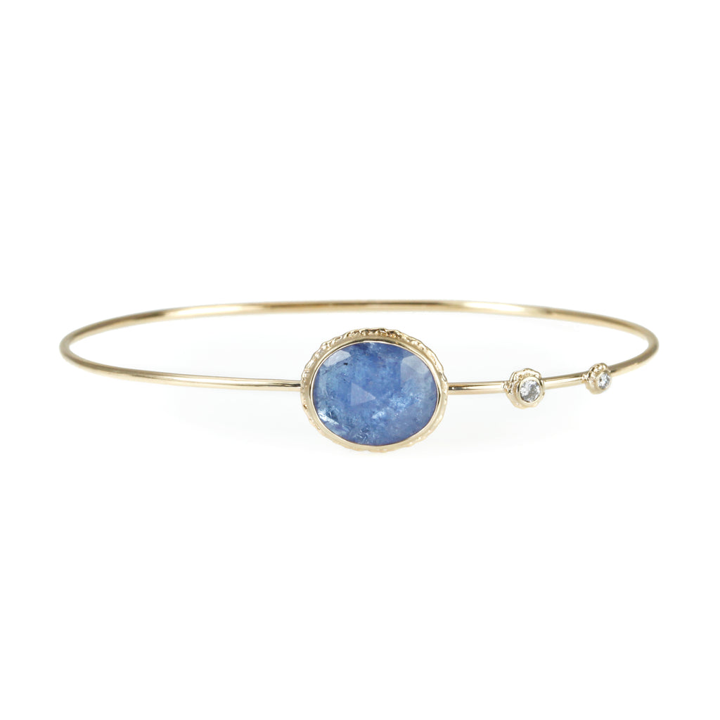 Oval Rose Cut Tanzanite Bracelet with Diamond Accents