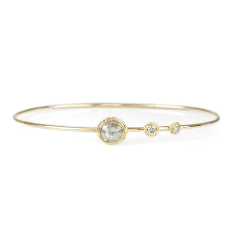 Oval Rustic Diamond Bracelet with Diamond Accents