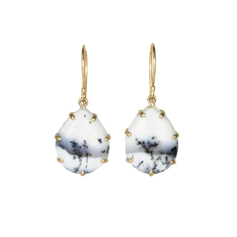 Small Smooth Dendritic Opal Teardrop Earrings