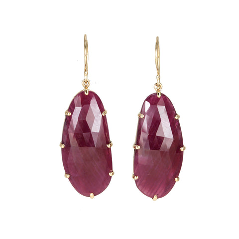 Jamie Joseph Prong-Set Asymmetrical Rose Cut Indian Ruby Earrings