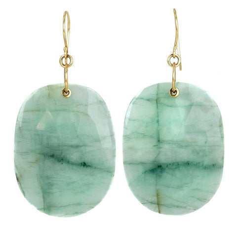 "Large Oval ""Sleeved"" Emerald-in-Quartz Earrings"