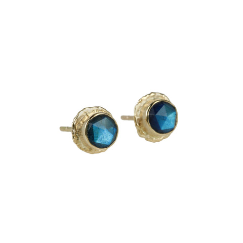 "Jamie Joseph Gold ""Ruffled Platform"" and Round Labradorite Earrings"