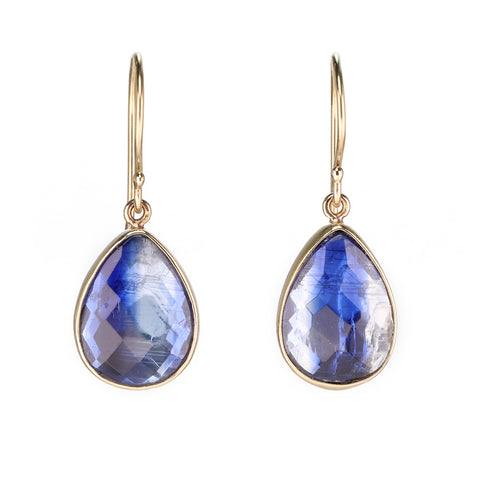 Jamie Joseph Gold Bezel-Set Teardrop Kyanite Earrings