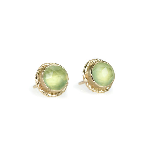 "Round Prehnite Stud Earrings on Gold ""Ruffled Platform"""