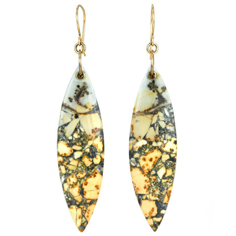 "Smooth Large Marquise ""Sleeved"" Jasper Earrings"