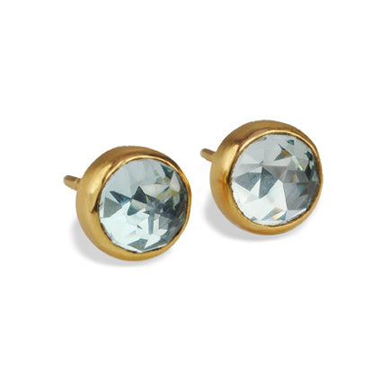 Gold Round Sky Blue Topaz Earrings