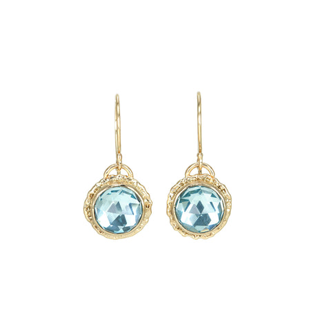 Jamie Joseph Sky Blue Topaz Drop Earrings on Ruffled Platform