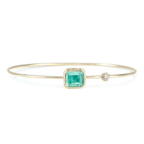 Rectangular Emerald Bracelet with Diamond Accent