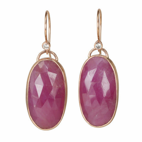 Jamie Joseph Rose Gold and Oval Pink Sapphire Earrings