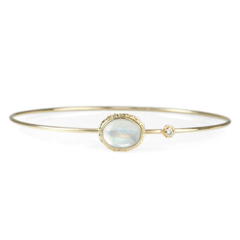 Smooth Oval White Rainbow Moonstone Bracelet with Diamond Accent