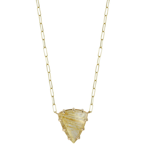 Triangular Golden Rutilated Quartz Necklace
