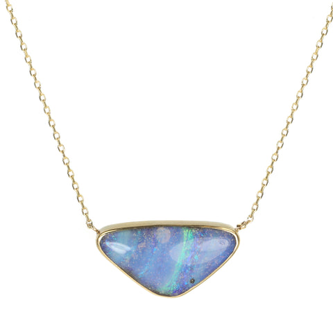 Gold and Bezel-Set Triangular Boulder Opal Necklace