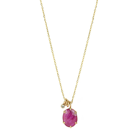 Jamie Joseph Prong-Set Oval Mozambique Ruby Necklace with Sliding Rings