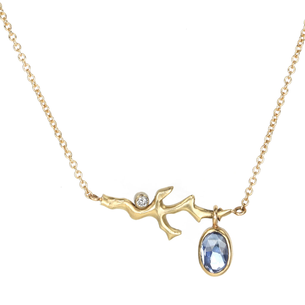 "Jamie Joseph Gold ""Coral Branch"" Necklace with Oval Rose Cut Tanzanite"