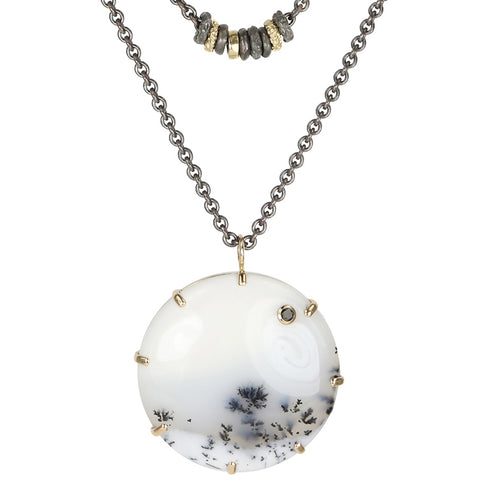 "Mixed Metal ""Convertible"" Necklace with Round Smooth Dendritic Opal"