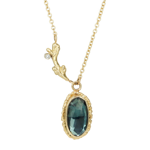 Oval Blue Tourmaline Necklace with Branch Detail