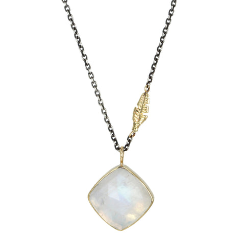 Mixed Metal White Rainbow Moonstone Necklace with Leaf Detail