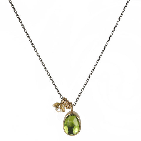 Jamie Joseph Asymmetrical Peridot Pendant Necklace on Oxidized Sterling Silver Chain