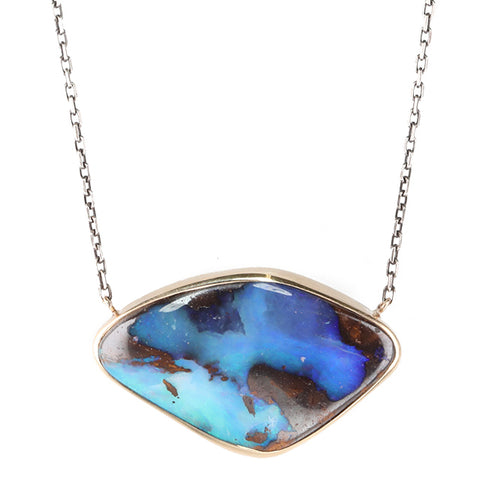 Asymmetrical Boulder Opal Necklace on Blackened Chain