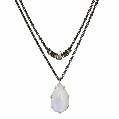Smooth Teardrop White Rainbow Moonstone Pendant on Convertible Chain
