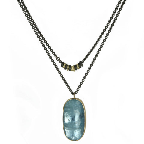 "Jamie Joseph Oxidized Sterling Silver ""Convertible"" Aquamarine Drop Necklace"